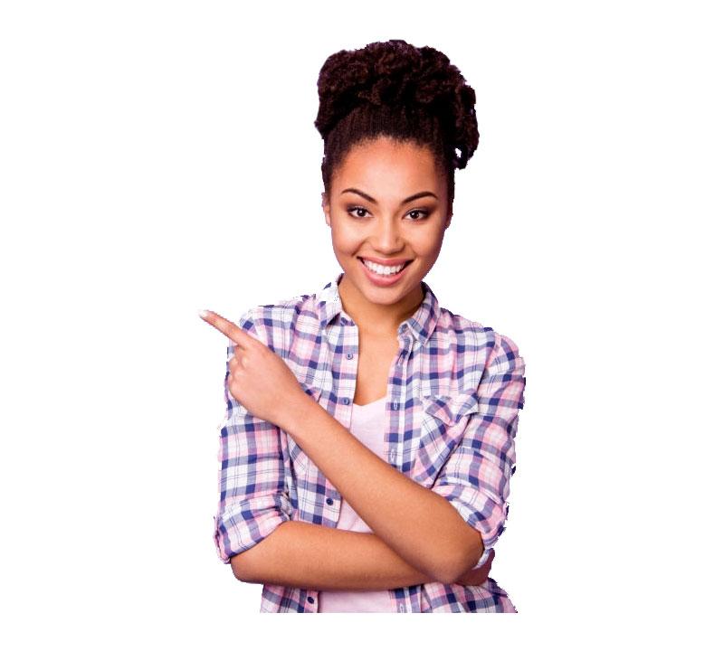 Image contient une fille pointant vers la gauche